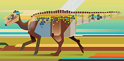 dinosaur walking on four legs with its tail outstretched