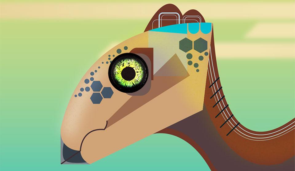 dinosaur head with a large eye