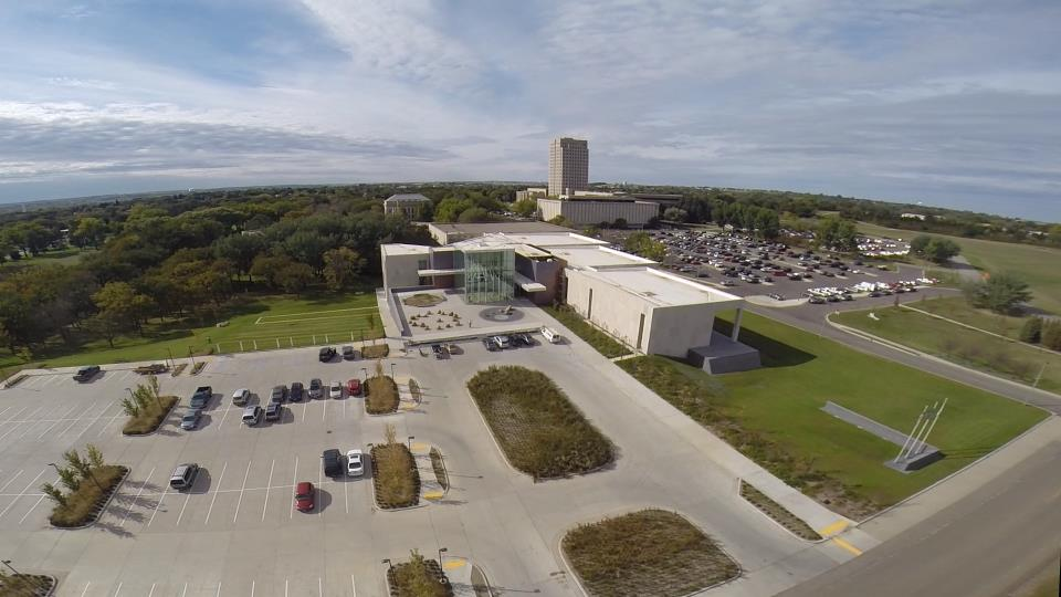 Aerial view of North Dakota Heritage Center & State Museum