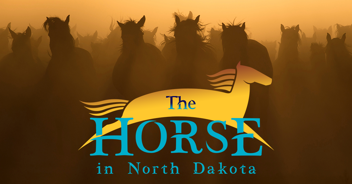 The Horse in North Dakota logo on a background of horse silhouettes