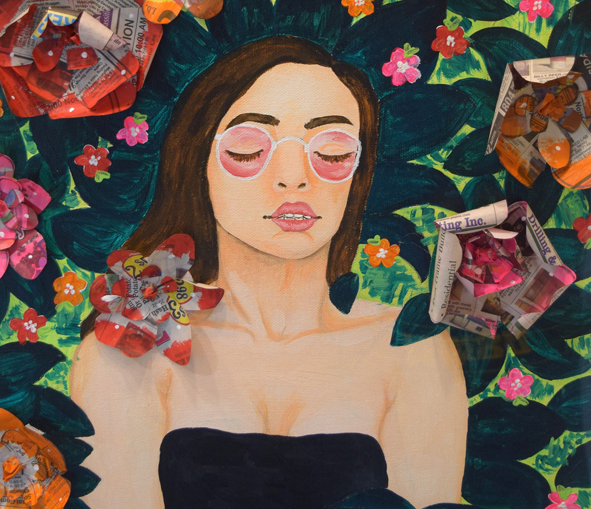 painting of a woman surrounded by flowers, 3d flowers made from newspaper