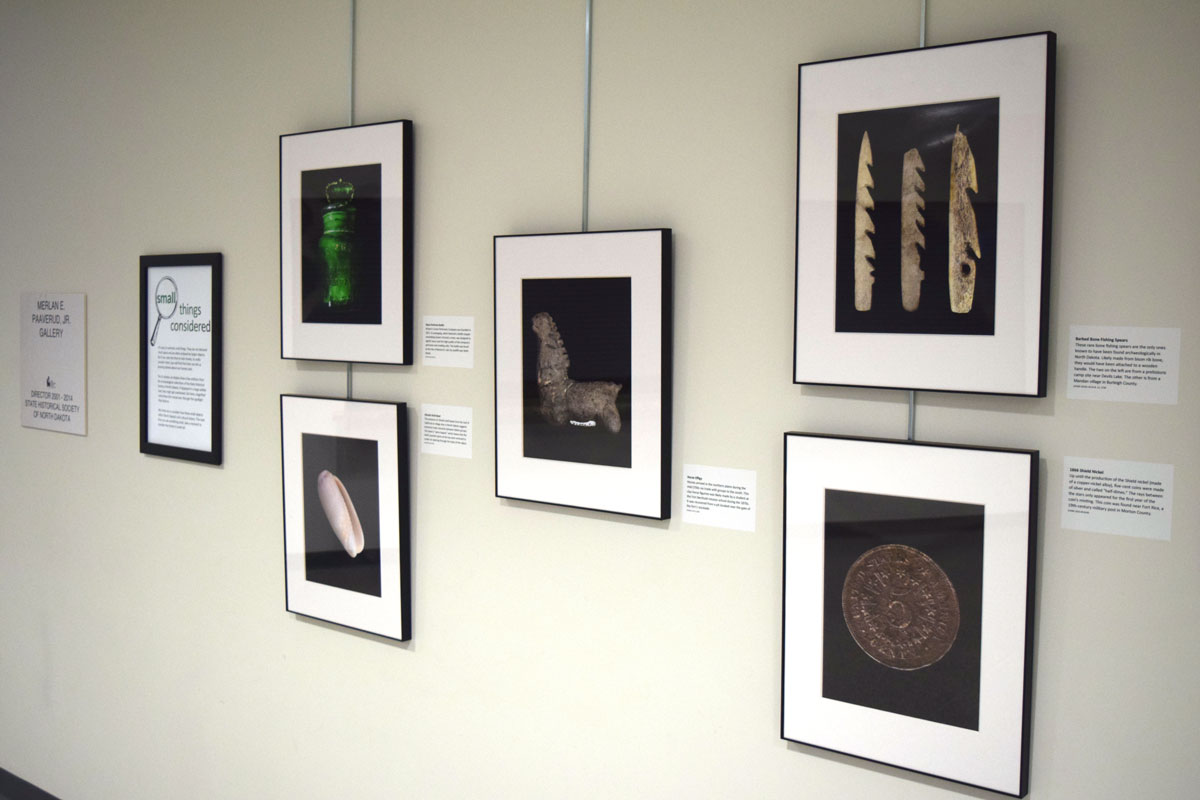 wall with pictures of small artifacts magnified many times their actual size